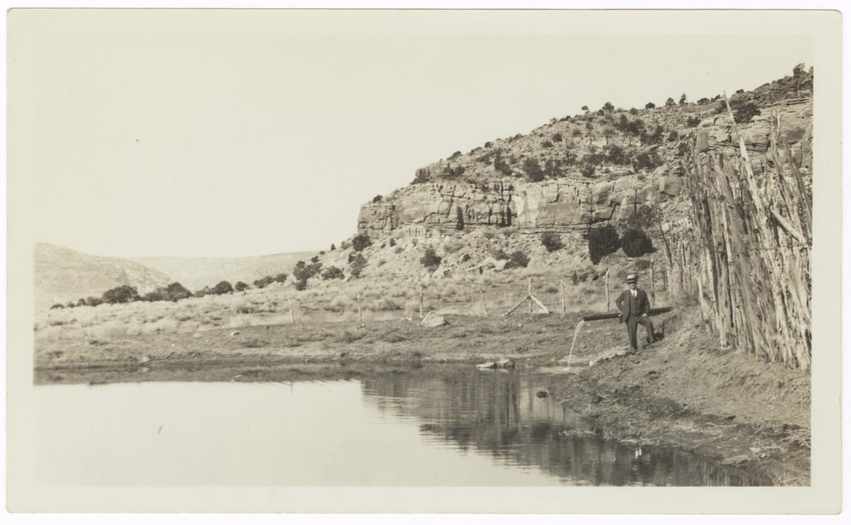 Man Standing near Point Spring Reservoir, Kaibab, Arizona