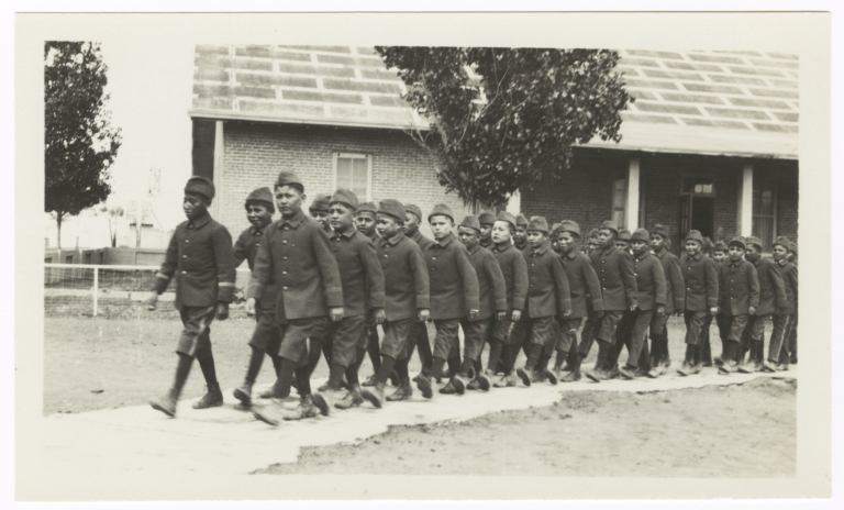 Native American Boys in Uniform, Walking in Pairs