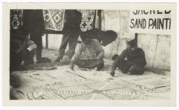Examples of Traditional Navajo Crafts - Sand Painting and Blankets