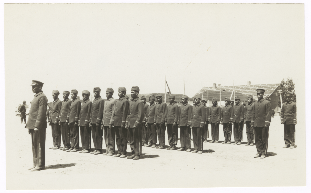 Young American Indian Men in Uniforms, Standing in Formation