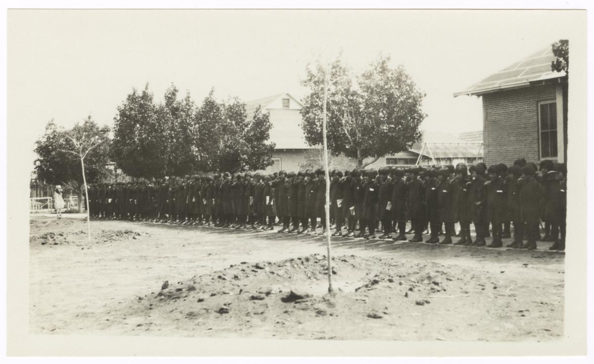 American Indian Children in Uniforms, Standing in Formation