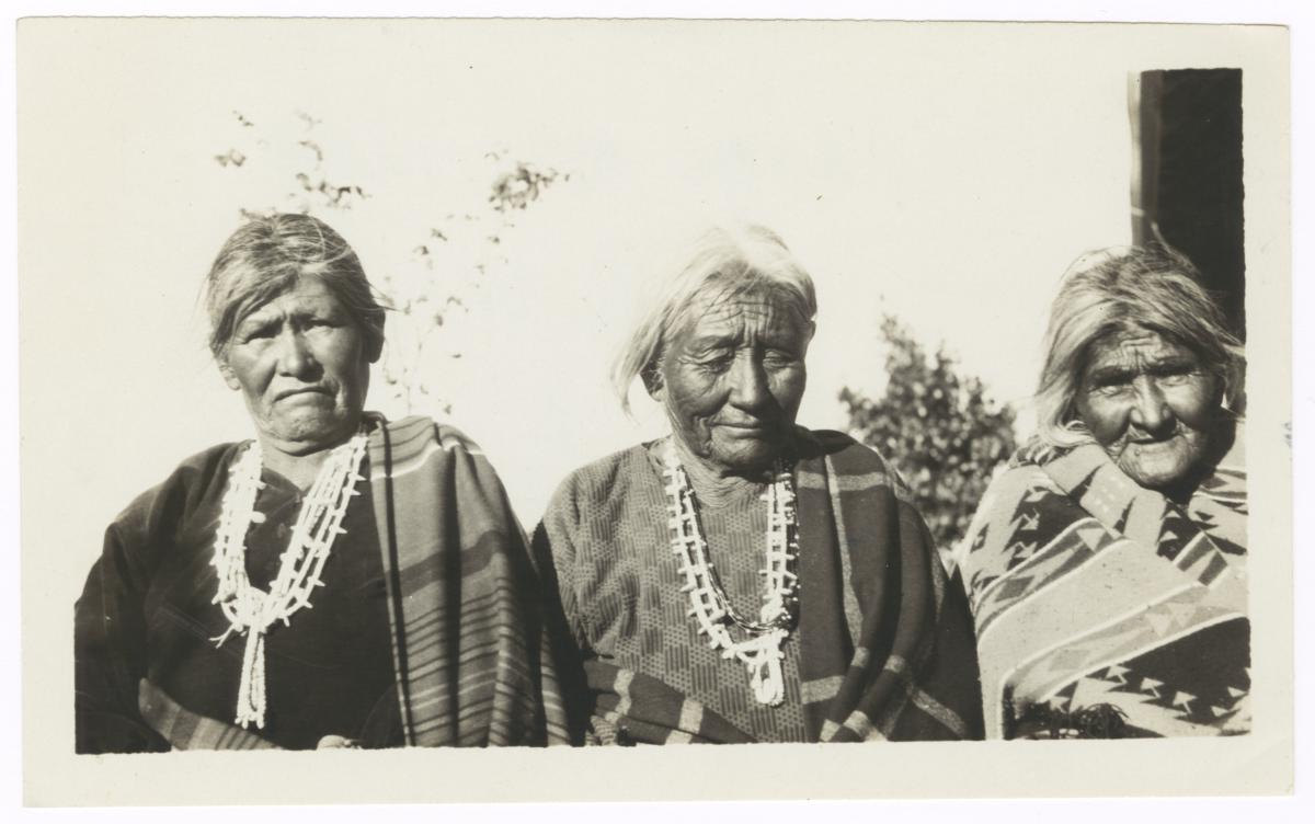 Three Navajo Women Wearing Traditional Jewelry and Blankets, New Mexico