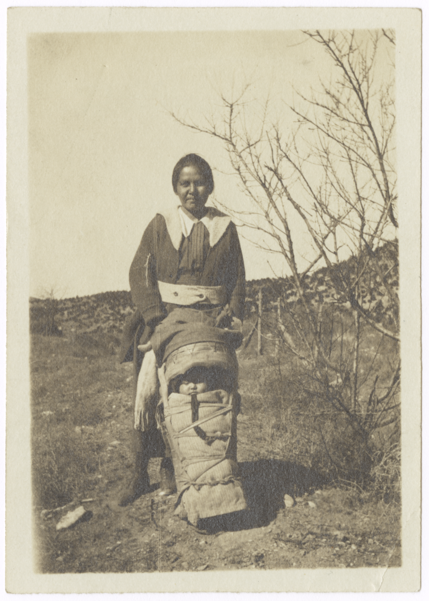 Woman with a Baby Wrapped on Cradle Board, Arizona