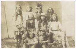 Group of Apache Men,  Including Al-Che-Zay (Middle Row, Dark Vest)  Chief of White Mountain Apache