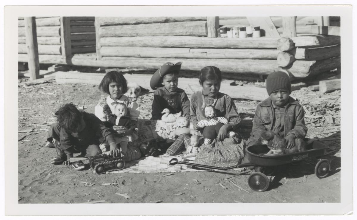 Navajo Children the Day after Christmas, Chinle, Arizona