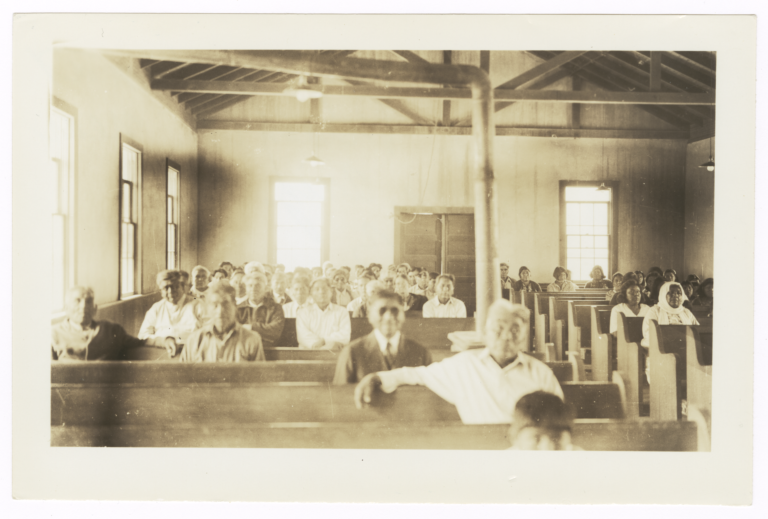 Sunday Morning Congregation at the Presbyterian Church near Casa Blanca, Arizona