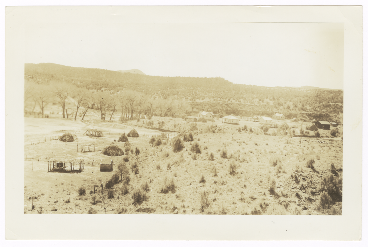 Landscape Showing Houses and Other Structures near Fort Apache, Arizona