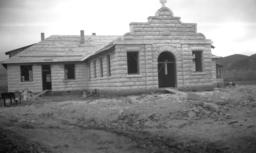 Roman Catholic Church Building, Under Construction, Front View, Rice, Arizona