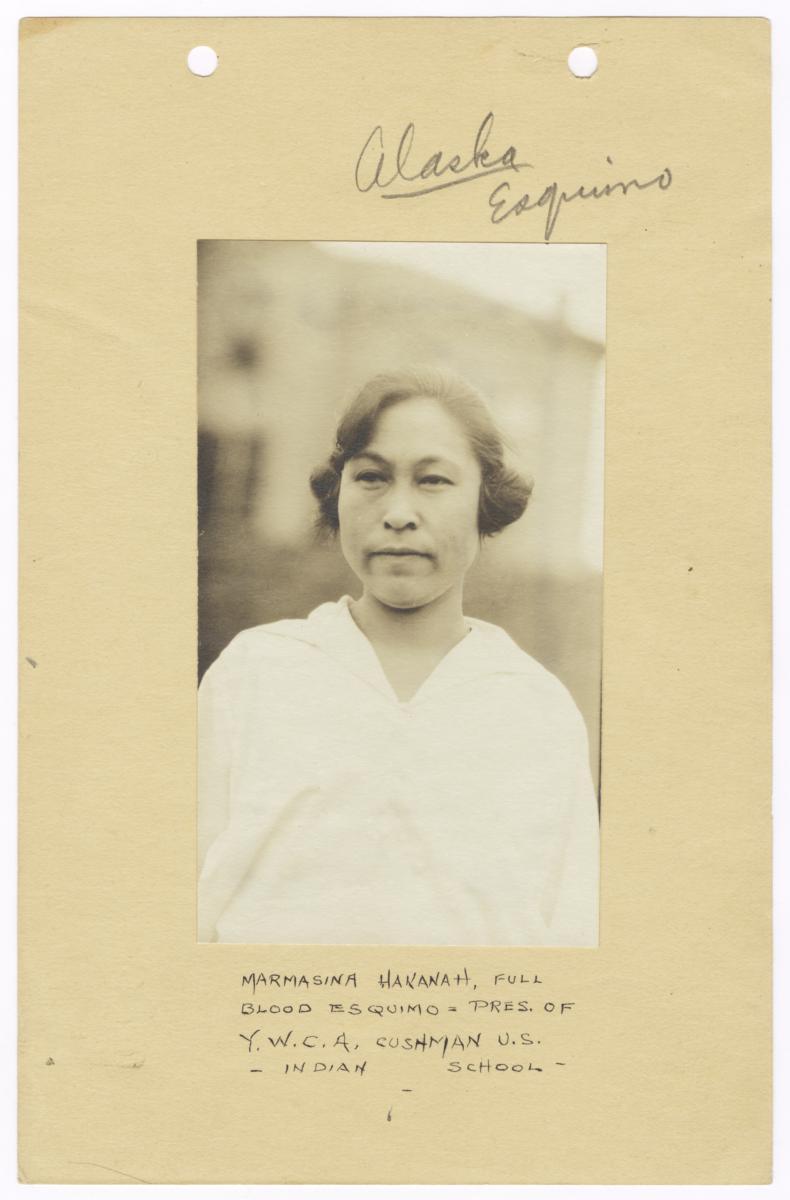 Portrait of Marmasina Hakanah, President of Y.W.C.A. Cushman U.S. Indian School