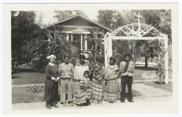 Deaconess Bedell and  Seminole Indians Outside the Glade Cross Mission Headquarters