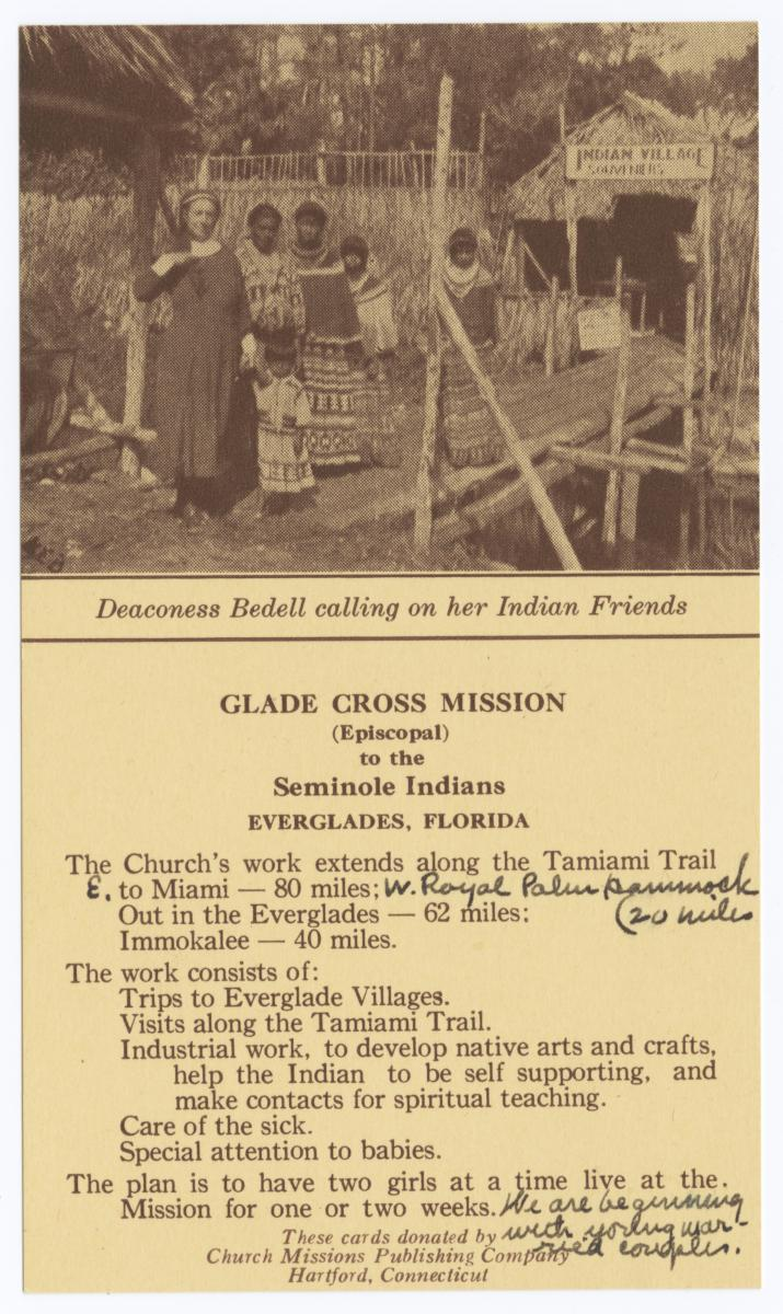 Deaconess Bedell Calling on Her Indian Friends, Glade Cross Mission to the Seminole Indians