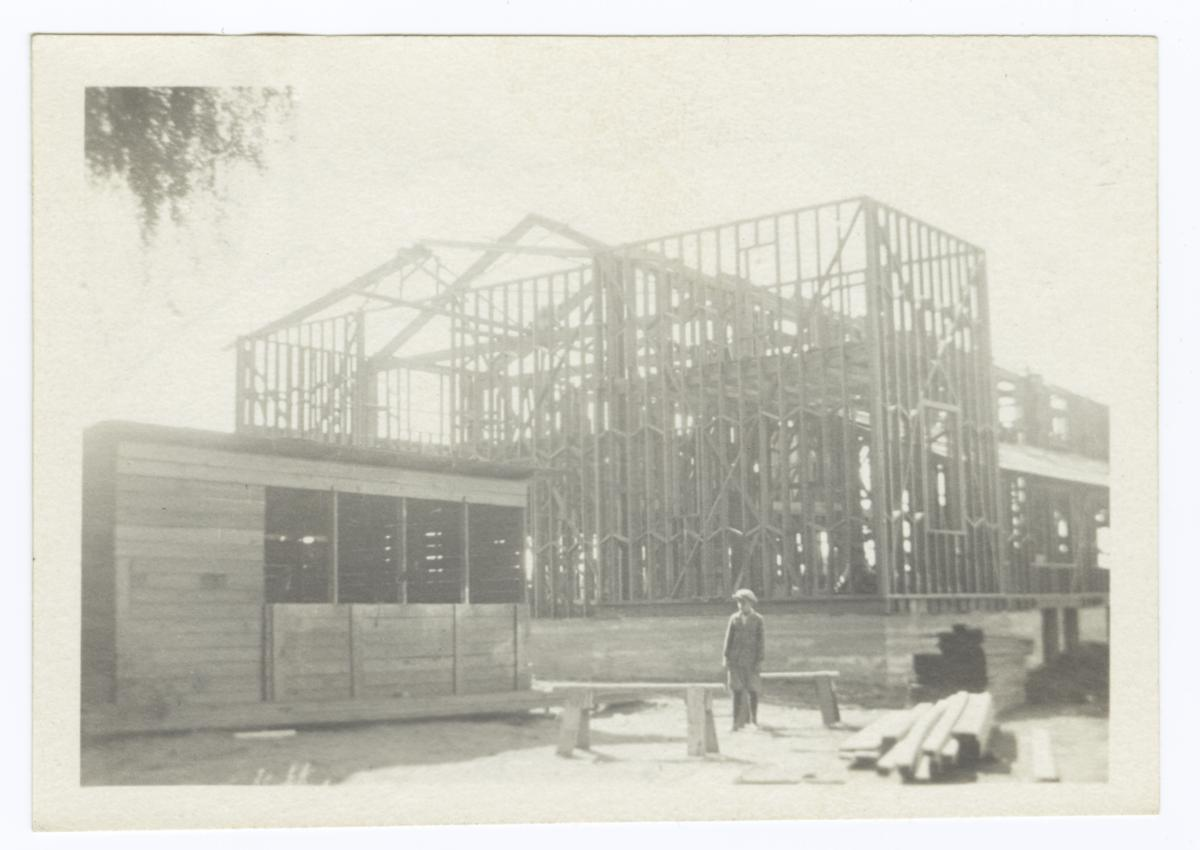 Building Under Construction, Tower and Side and Extensions, Truss Work