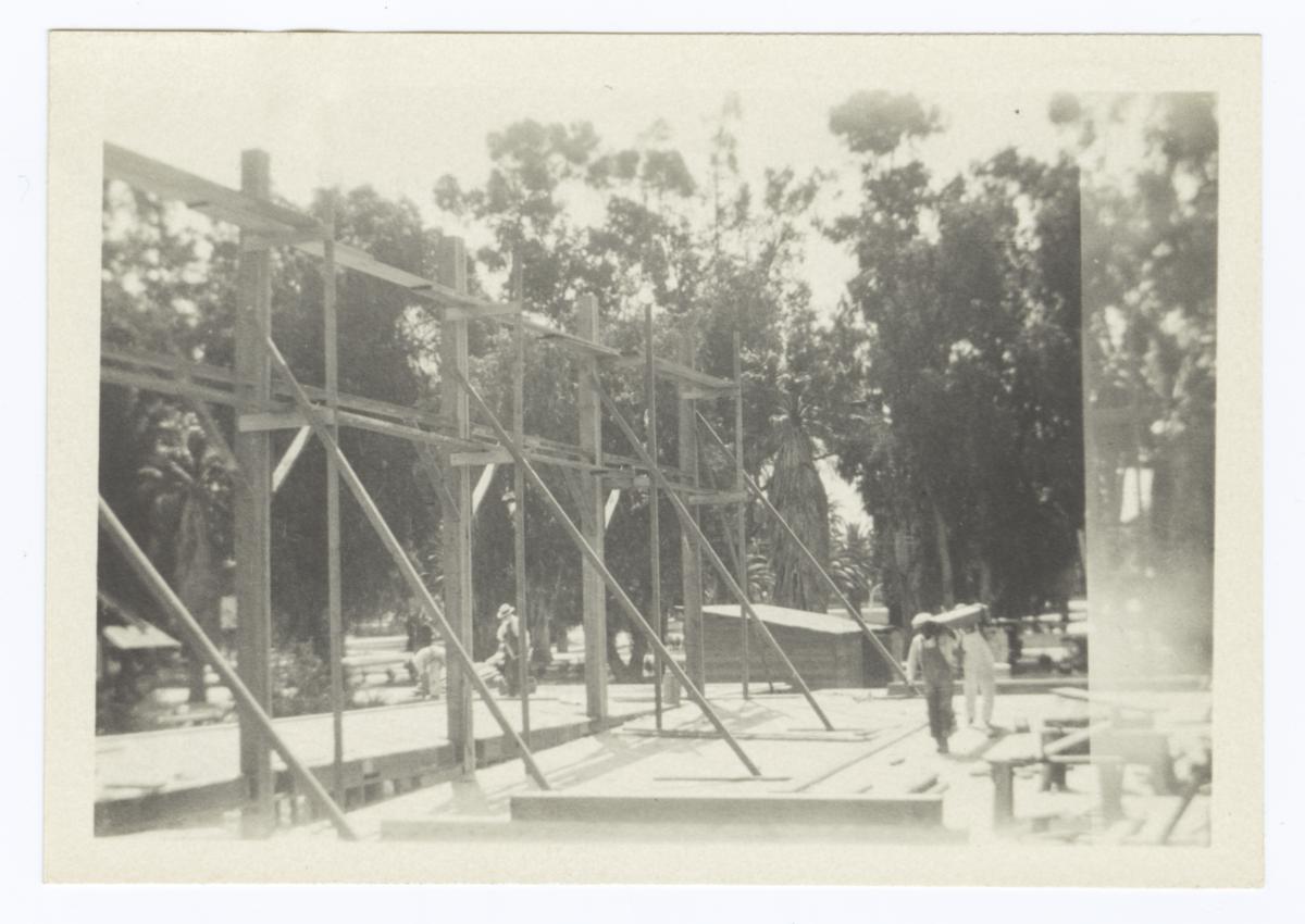 Building Under Construction, Beginnings of Superstructure, Riverside, California