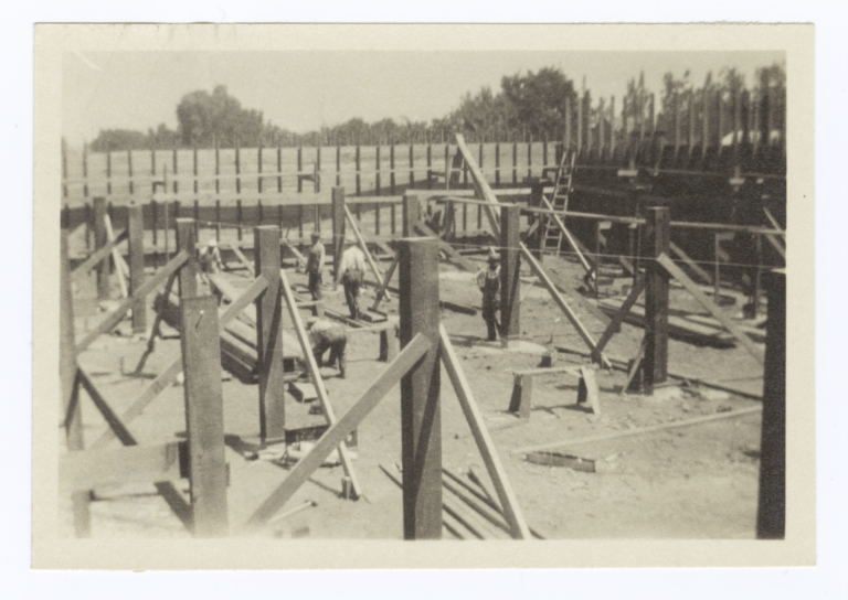 Building Under Construction, Forms for the Foundation and Basement Pillars, Riverside, California
