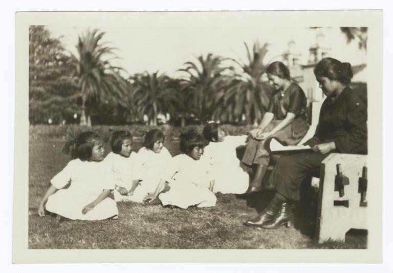 Two Women with a Group of Elementary School Girls
