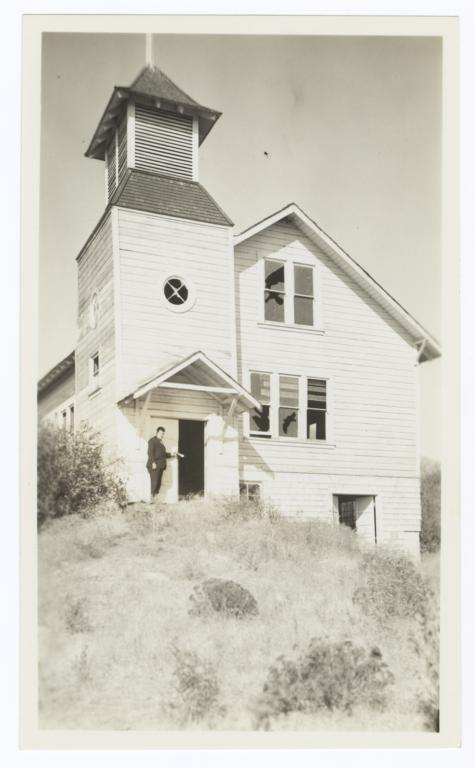 Rev. Floyd Burnett Standing at the Doorway of an Abandoned Mission near Fort Bidwell, California