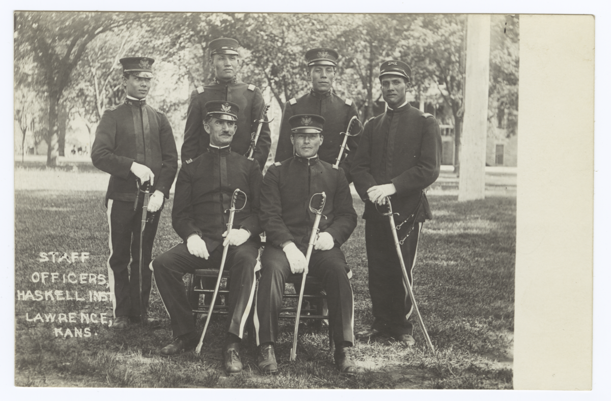 Staff Officers in Full Uniform Dress, Haskell Institute, Lawrence, Kansas