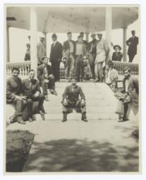 Large Group of Men Posing in and around the Gazebo