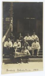 "Haskell Delegation: Group of Young Men, Several Sporting ""H"" Letter Sweaters and Pennants"