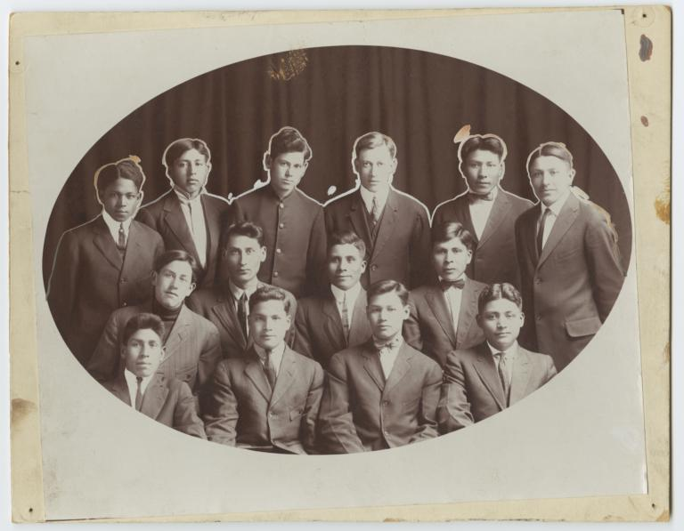 Group Portrait of Fourteen Young Men in Suits, Haskell Institute, Lawrence, Kansas