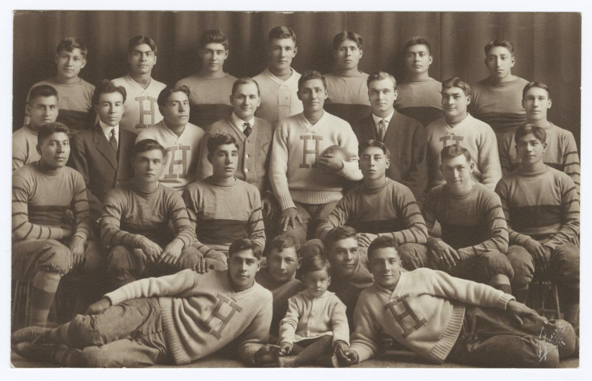 Group Portrait of a Football Team, Haskell Institute, Lawrence, Kansas