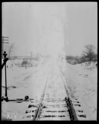 View of Train Tracks of Great Western in the Snow, South of Minneapolis, Minnesota