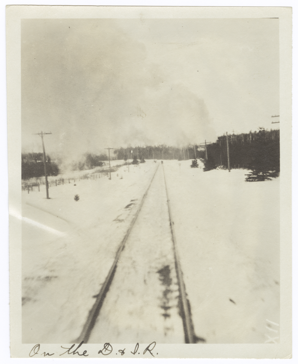 View of Train Tracks from the Train on Duluth Iron Range Railroad, Minnesota