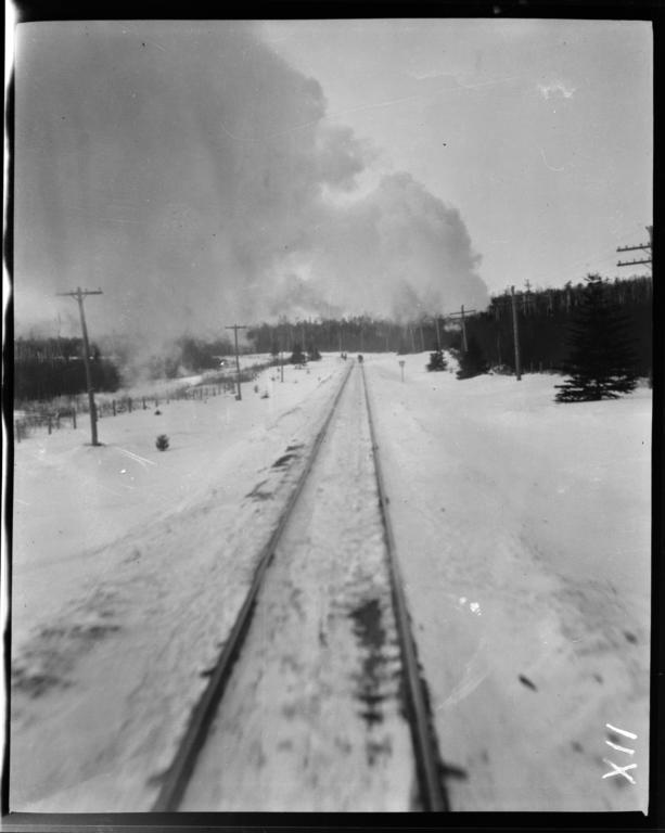 View of Train Tracks from the Train on Duluth Iron Range Railroad, Minnesota