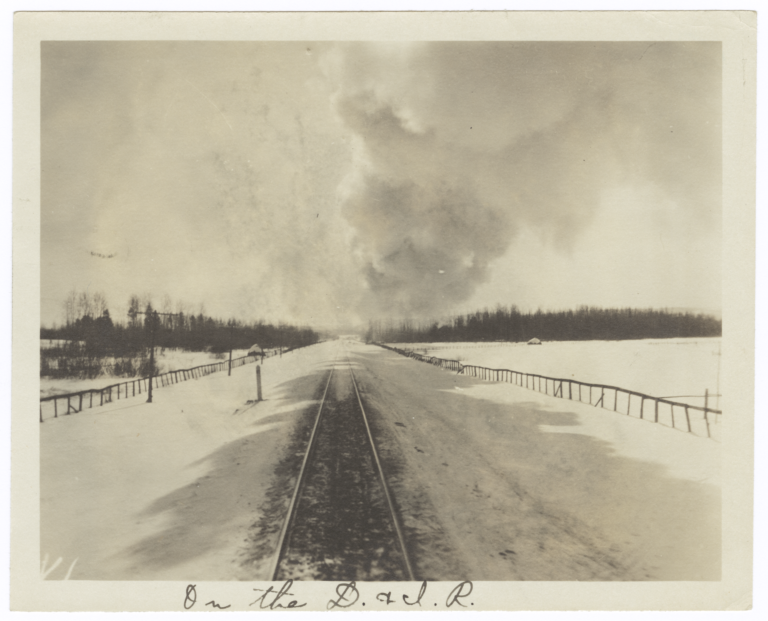View from the Rear of a Train on the Duluth and Iron Range Railroad, Minnesota
