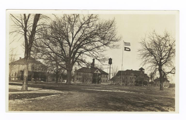 Service Flag out on Indian School, Pipestone, Minnesota