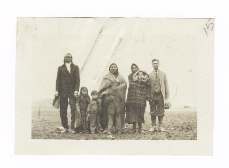 Unidentified Man Posing with American Indian Family