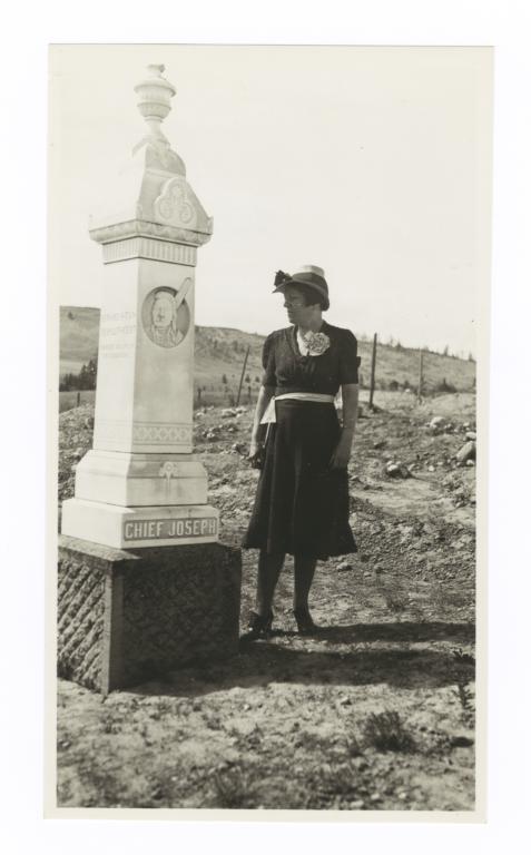 Mrs. F.W. Seymour near the Grave of Chief Joseph