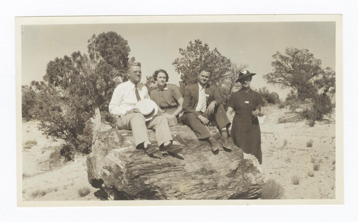 G. E. E. Lindquist, Vera & Russ Carter and Anna Berkenpas at a Petrified Rock, Ganado, Arizona