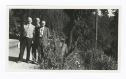 Three Men at Side of Forested Road