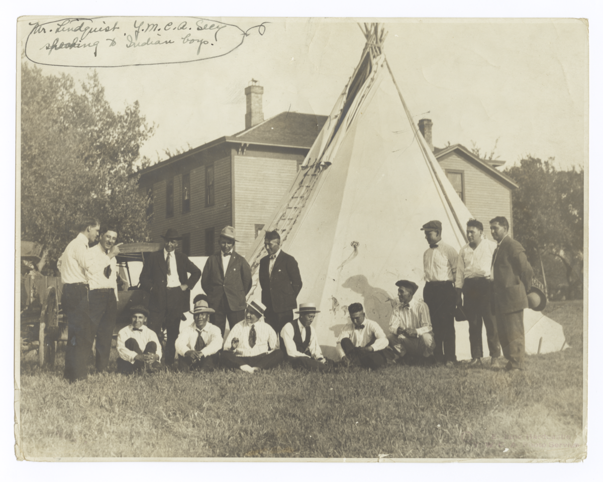 G.E.E. Lindquist, Y.M.C.A. Secretary, Speaking to Young American Indian Men