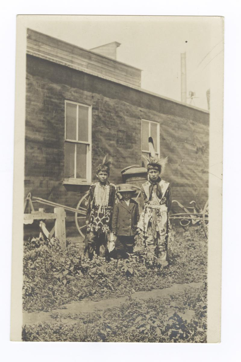 Three Native American Boys, Two in Traditional Dress, One in European