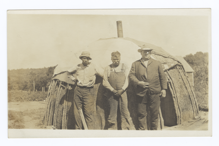Three Men in front of Wickiup