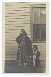 Young American Indian Woman and Girl in Traditional Dress
