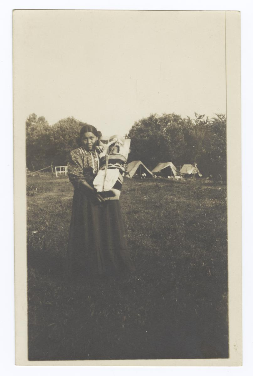 Young American Indian Woman with Baby in Cradle Board