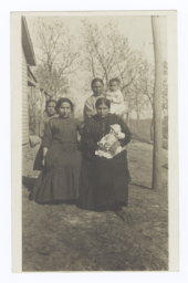 Three American Indian Women, a Girl and Two Babies