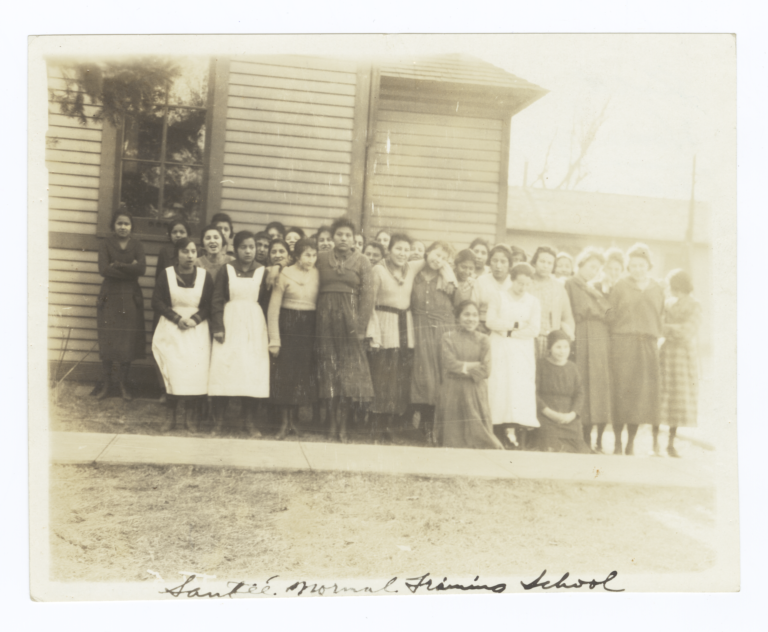 Group of Female Dakota Students in front of Santee Normal Training School, Nebraska