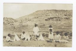 Group of Mescalero Girls with Miniature Tipis, Mescalero, New Mexico