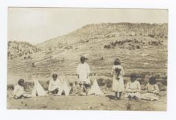 Group of Mescalero Girls with Miniature Tipis, Mescalero, New Mexico