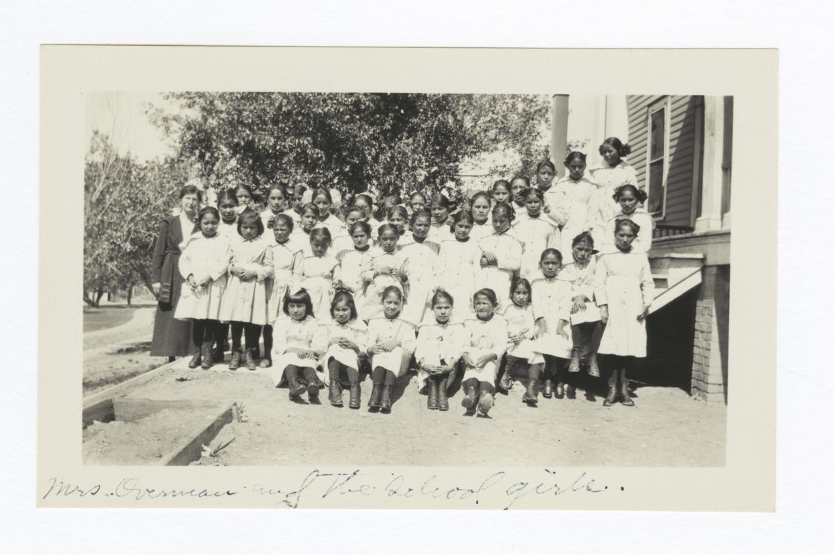 Teacher (Mrs. Overman) and School Girls at Mescalero, New Mexico