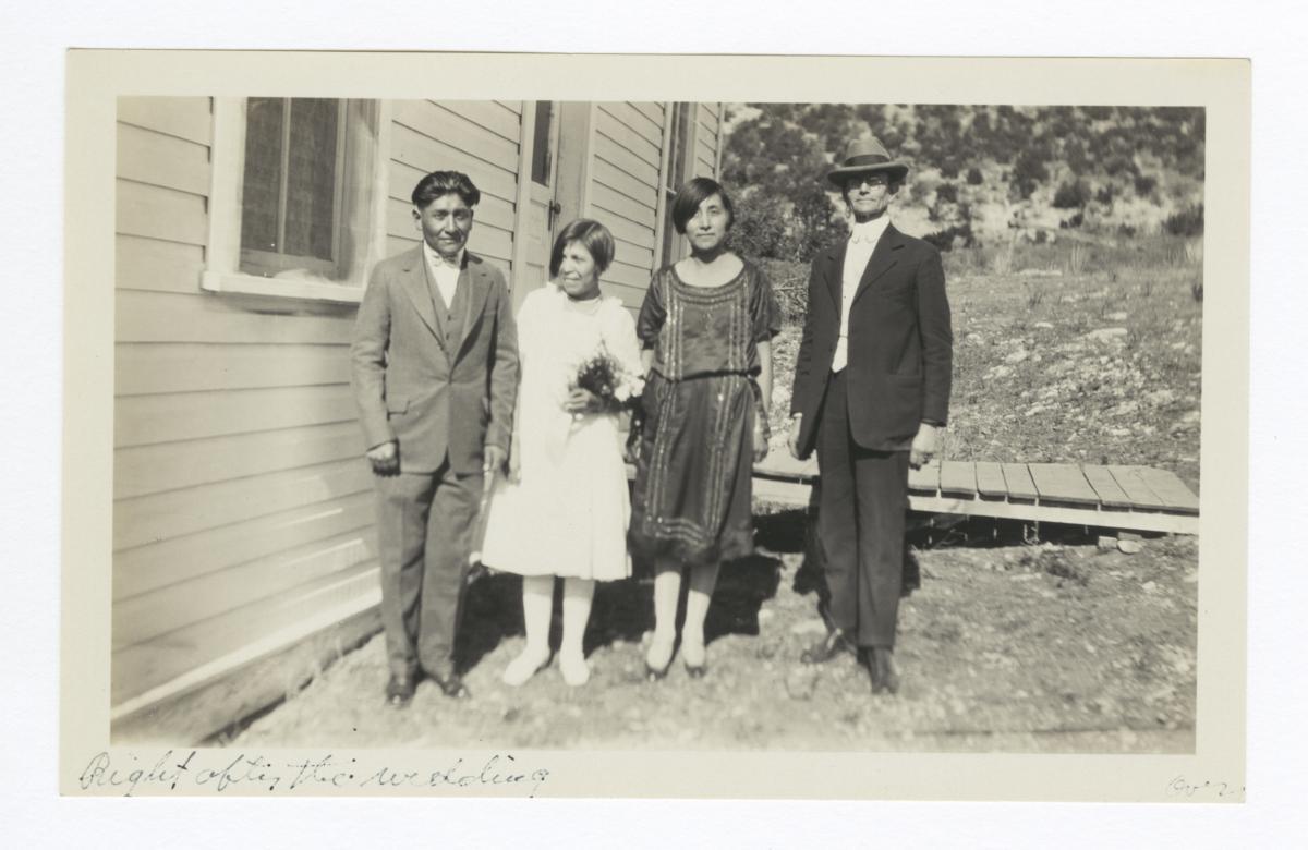 Bride, Groom, Bridesmaid, and Mr. Overman, Mescalero, New Mexico