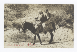 Two American Indian Women on a Donkey, Mescalero, New Mexico