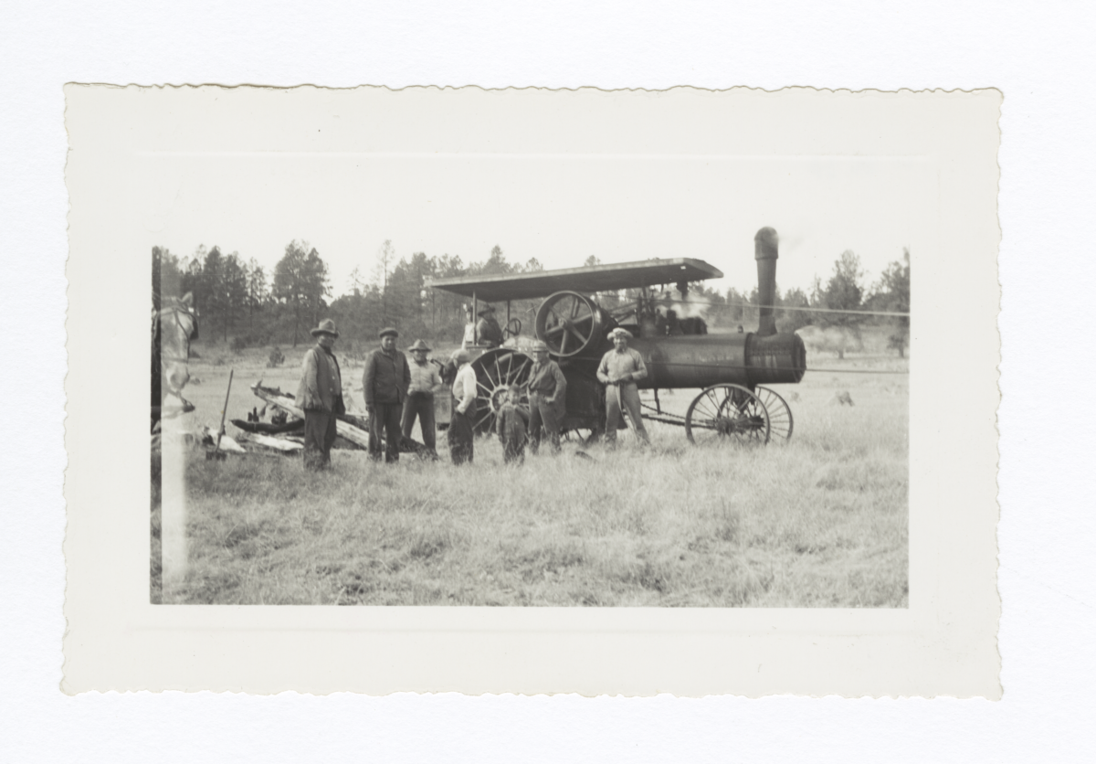 Group of Men with a Steam Tractor