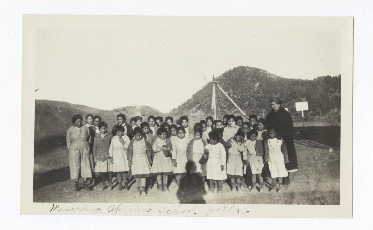 Mescalero Apache School Girls with Mrs. Overman