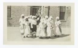 Boys and Girls in Historical Costume Dancing a Minuet at Sante Fe, New Mexico