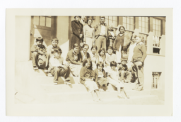 Whitetail Day School, Group of Students and Adults on the Front Steps
